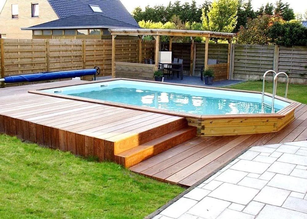 Piscines et bassins dupr la tour paysage 24 ans d for Piscine semi enterree bois hexagonale